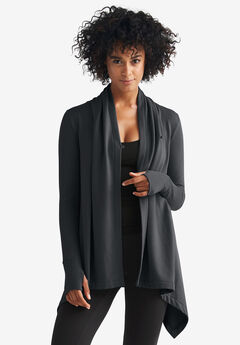 Wrap-Front Cardigan by ellos®, BLACK
