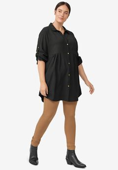 Button Front Empire Tunic,