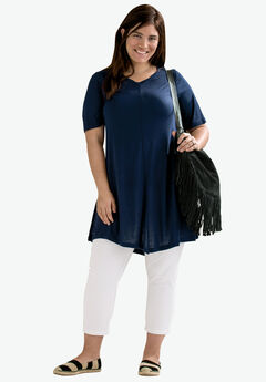 Twisted V-neck Tunic by ellos®, NAVY