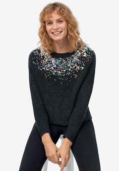 Sequin Yoke Pullover by ellos®,