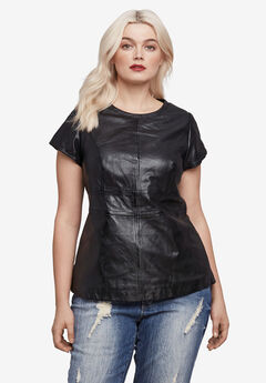 Back Zip Leather Top,
