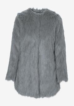 Faux Fur Snap Front Coat by ellos®, GUNMETAL