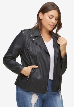 Faux Leather Moto Jacket by ellos®, BLACK