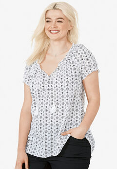 Ruffle Trim Peasant Blouse by ellos®, WHITE BLACK PRINT