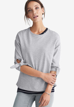 Tie-Sleeve Sweatshirt by ellos®,