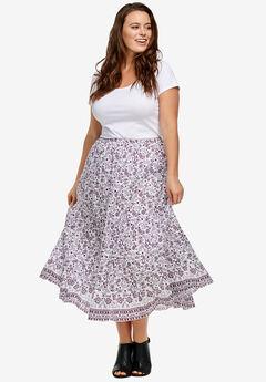 Printed Long Tiered Skirt by ellos®,