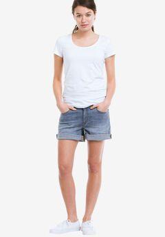 Rolled Hem Denim Shorts,