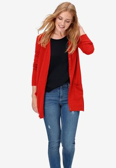 Boyfriend Cardigan by ellos®, RED APPLE
