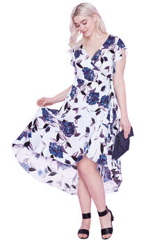 Floral Midi Wrap Dress by ellos®, GLACIER BLUE FLORAL