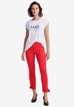 Ankle Tie Ponte Pants by ellos®, HOT RED