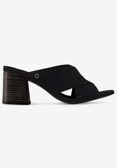 Suede Block Heel Sandal, BLACK
