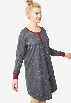 Long Sleeve Henley Sleepshirt, HEATHER CHARCOAL STAR