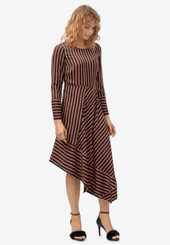 Asymmetrical Striped Dress by ellos®, BLACK RUST STRIPE