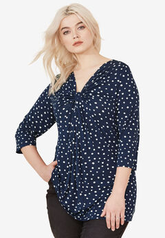 Twisted Knot-Front Tunic by ellos®, NAVY/WHITE DOT PRINT
