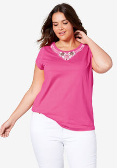 Beaded Neckline Tee by ellos®,