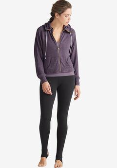 Zip-Front Marled Sweatshirt by ellos®, SMOKY PURPLE MARLED