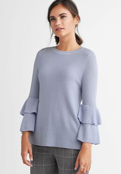 Tiered Sleeve Ribbed Pullover Sweater by ellos®,