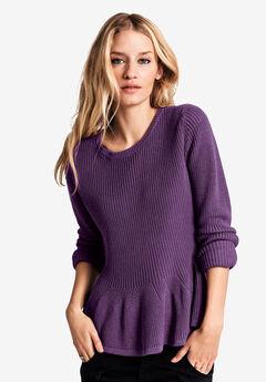 Long Sleeve Peplum Sweater by ellos®,