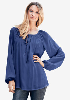 Tie Neck Peasant Tunic by ellos®,