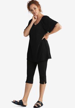 Textured Knit Capri Pants,