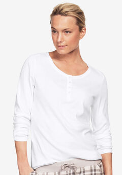 Long Sleeve Henley Sleep Tee, WHITE