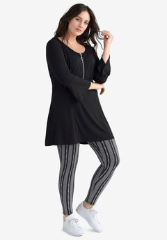 Leggings by ellos®, BLACK WHITE STRIPE