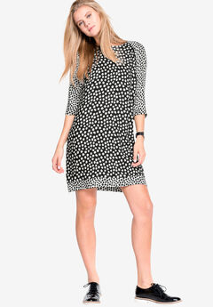 Printed Shift Dress by ellos®, BLACK WHITE DOT