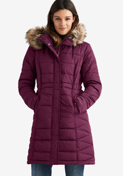 Faux Fur Trim Puffer, MIDNIGHT BERRY