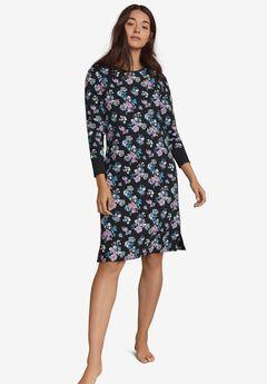 Long Sleeve Henley Sleepshirt, BLACK MULTI FLORAL