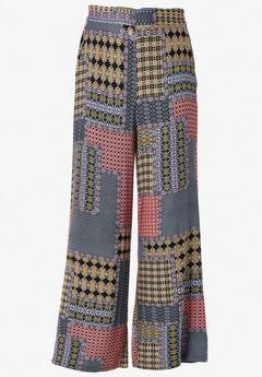 Wide-Leg Soft Pants by ellos®, MULTI PATCHWORK PRINT