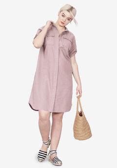 Button Front Linen Shirtdress by ellos®, VINTAGE LILAC