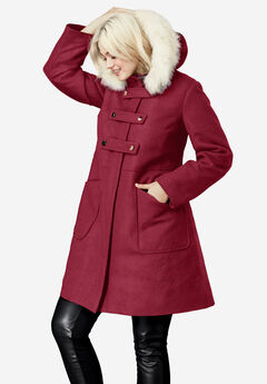 Faux Fur Trim Wool-Blend Coat by ellos®,