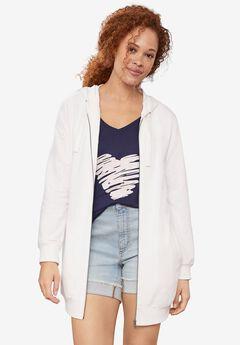Long Zip Front Hoodie, WHITE