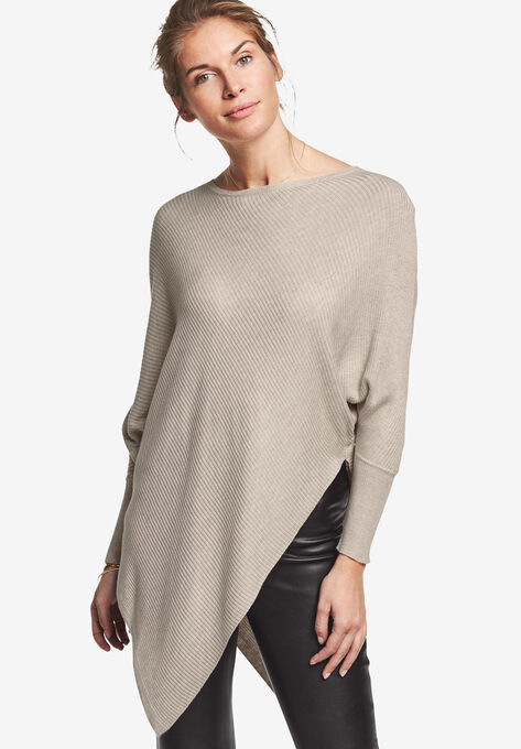 65378caaf1f9c Lightweight Ribbed Poncho Sweater by ellos®