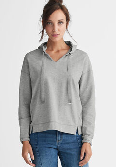 French Terry Ribbon Drawstring Sweatshirt by ellos®, HEATHER GREY