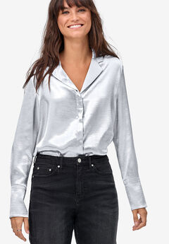 Metallic Satin Button-Down Blouse by ellos®,