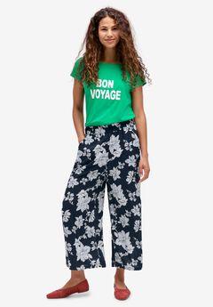 Wide-Leg Crop Pants, NAVY FLORAL