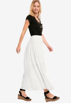 Lace Trim Long Skirt, WHITE