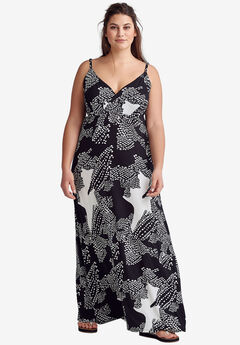 Knit Surplice Maxi Dress by ellos®, BLACK WHITE ABSTRACT