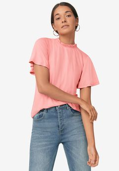 Ruffled Mock Neck Tee,