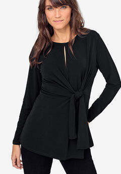 Side-Tie Keyhole Tunic by ellos®, BLACK