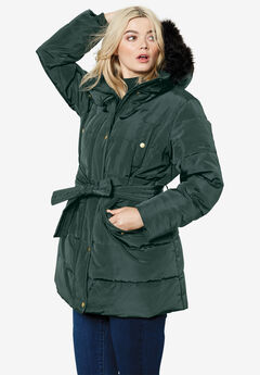 Belted Puffer Coat by ellos®, DEEP EMERALD