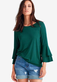Tiered Bell Sleeve Tee by ellos®,