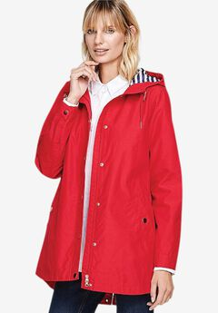 Snap-Front Hooded Raincoat, HOT RED