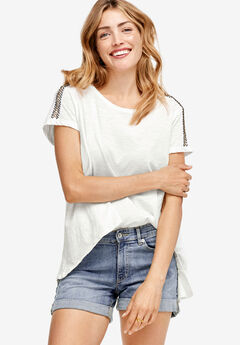 Beaded Shoulder Tee by ellos®,