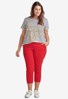 Seamed Zip Capri by ellos®, HOT RED