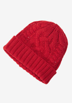 Cable Knit Hat by ellos®, POPPY RED