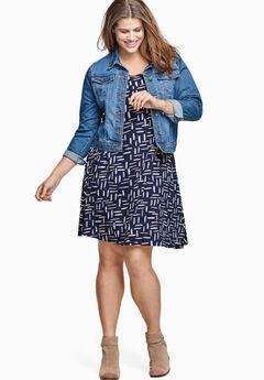 Short Sleeve A-Line Knit Dress by ellos®, NAVY PRINT