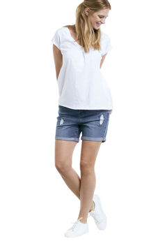 Distressed Denim Girlfriend Shorts by ellos®,