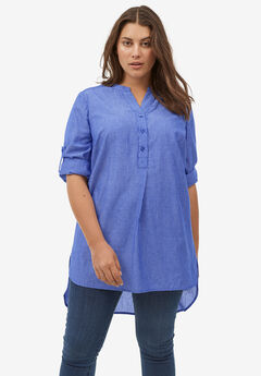 Striped Henley Tunic by ellos®,